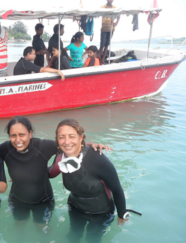 Mridula, left, scuba diving in the Andaman Islands.
