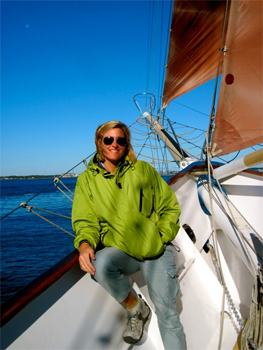 Aboard the American Rover, a sailing vessel that plys the waters off Norfolk.