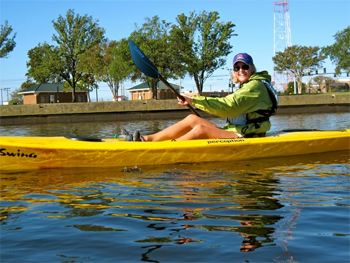 The author enjoying a kayaking trip in Norfolk.