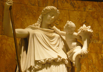 Sculpture of the Roman Goddess Abundantia in the casino