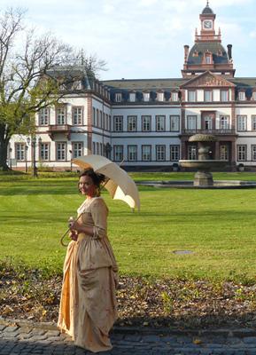 Nina Schneider, dressed as Rose Dorothy, second mistress of Landgrave Wiliam of Hanau in front of Philippsruhe Castle in Hanau. Photos by Stephen Hartshorne.