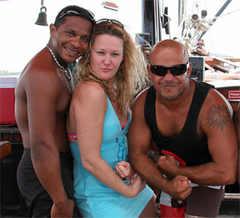 The author with a few pirates from Aruba.