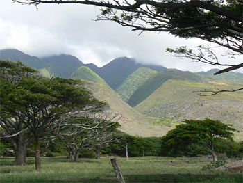 The beautiful mountains of Molokai, on the road to the east end.