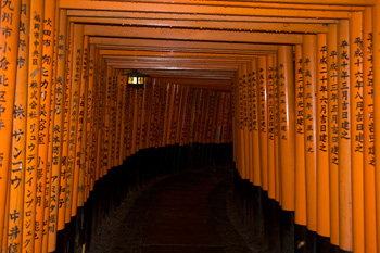 Torii tunnel at Fushimi Inari Temple, Kyoto, Japan