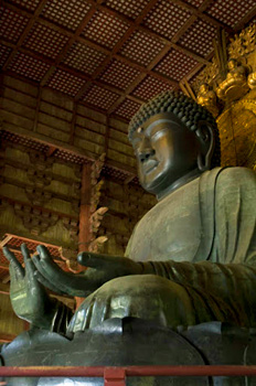 The Vairocana Buddha, world's largest bronze Buddha, Toda-ji Temple, Nara, Japan