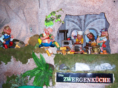 The Zwergenkuche, or miniature kitchen, in Postlingberg, a fairyland in Linz, Austria