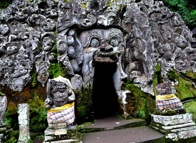 The entrance to the Goa Gajah Cave, an 11th century site in Bali