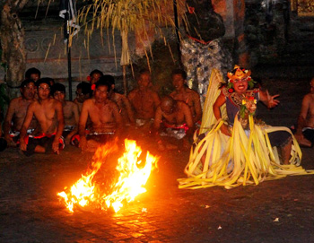 Now the fiery part of the performance in the Kecak dance
