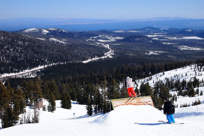 Skiing a trail at Mount Bachelor, Bend, Oregon.