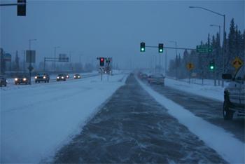 Snowy road in Fairbanks, Alaska in winter.