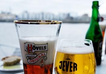 Breaking for beer overlooking the Elbe River