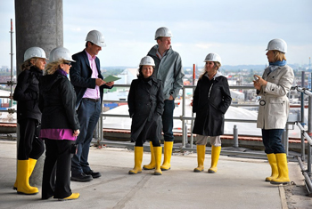 Wearing duck boots and hardhats visiting the top of the Elbphilharmonie Concert Hall