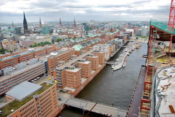 Aerial View of the Traditional Pier in HafenCity