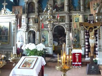 The interior of St. George's Church in Varska, Estonia