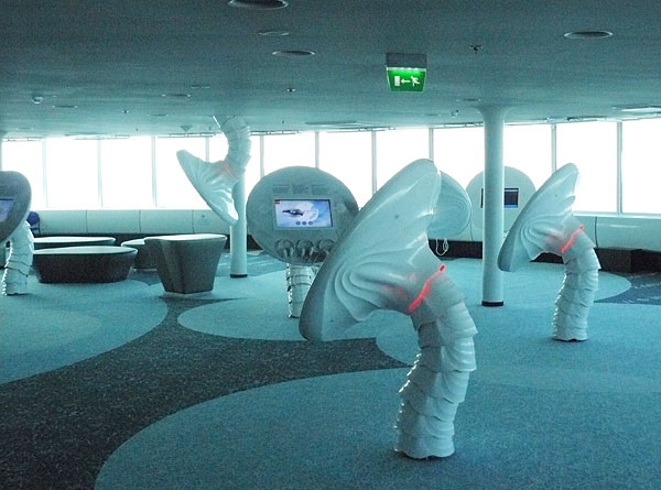 There are lots of 'space mushrooms' with interactive exhibits on the screens.