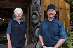 Sally and Sacha, mother and son owners of Rapuara Total Experience, a nature reserve and restaurant in Tapu.