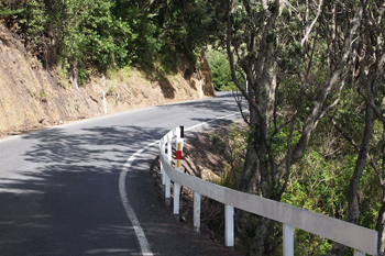 The winding road to Coromandel Town.
