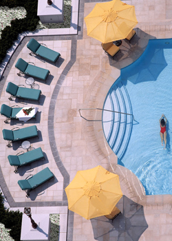 The outdoor pool at the Grand American Hotel, Salt Lake City.