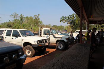 The utes are lined up for outback excursions.