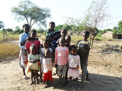 Family in a village in Mozambique.