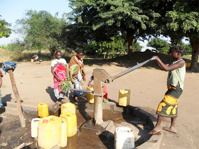 A new water pump in a local village.