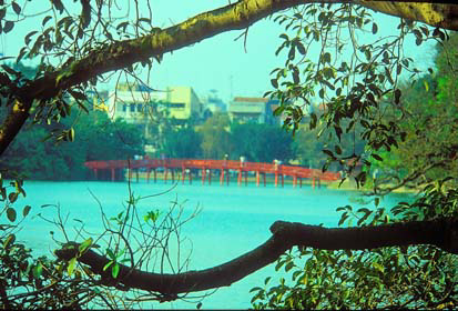 Rising Sun Bridge leads to Ngoc Son Temple in Lake Hoan Kiem, in Hanoi.