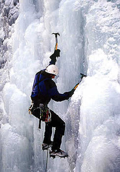 Rock and River Guide Service offers ice climbing trips in the winter.