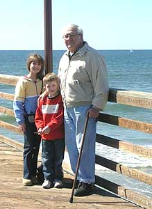 The author's father, daughter and son on the pier at Oceanside - photos by Cathie Arquilla