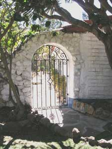 The hacienda gate at the Camillo Ranch