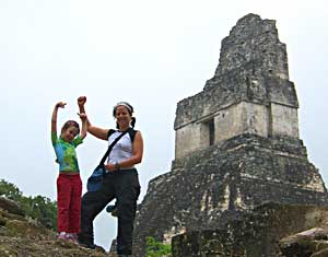 Alina and Donna at the top of a Tikal pyramid