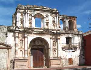 The remains of a historic church in Antigua