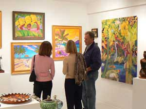 Taking in art at the open galleries on Friday night in Vero Beach FL.