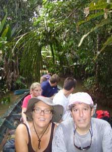 Jenny and Steve in a dugout canoe in Peru