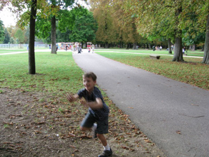 Running around the park in Dijon, France.