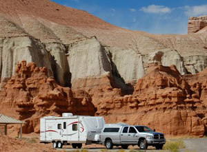 The campground offers spacious sites with terrific views for RVs.