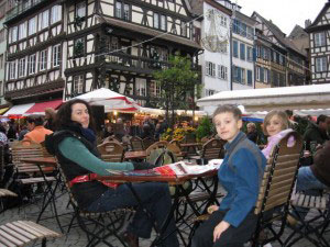 Typical cafe in historic Strasbourg