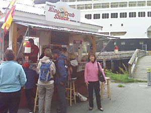 The author outside her favorite crab hut in Juneau
