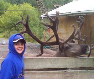 Justin (11) and the reindeer on the Wildlife Sanctuary Tour in Ketchikan - photos by Joshua Jedwab