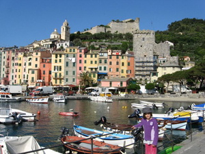 Candy colored houses in Portovvenere, Italy.