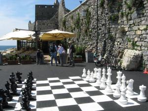 Giant chess set at Ristorante Le Bocche, Portovenere, Italy.