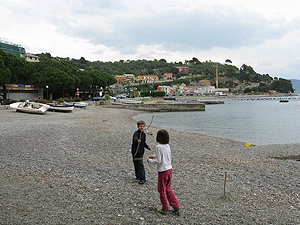 Kids enjoy playing on the beach in Portovenere, Italy, on the Ligurian coast. photos by Alexandra Regan.