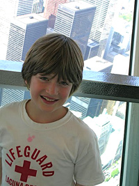 James atop Toronto's CNN Tower.