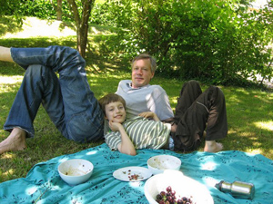 Picnicking with Dad, in the Loire Valley.