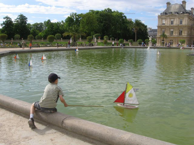 Sailboats in the park in Paris.