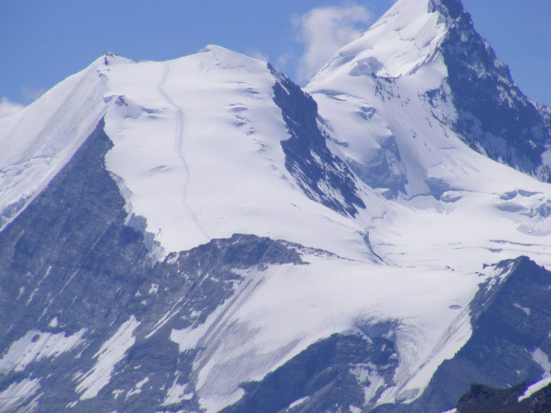 A magnificent view of the mighty Matterhorn. Note the path in the snow, obviously made by climbers more intrepid than us.