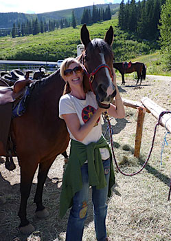 Author Shelley Seale with her horse, Shadow, on Schweitzer Mountain. Original photo by Keith Hajovsky.