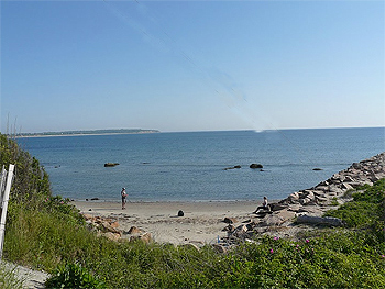 The easy to access beach, right across from the National Hotel on Block Island.