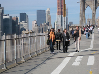 Strolling across the Brooklyn Bridge