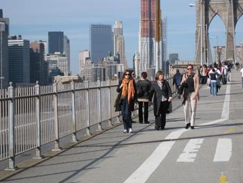 Strolling across the Brooklyn Bridge