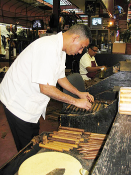 Rolling fresh cigars in the market